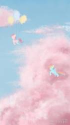 Size: 750x1334 | Tagged: safe, artist:亚凛酸, pinkie pie, rainbow dash, earth pony, pegasus, balloon, cloud, duo, female, floating, flying, mare, pink cloud, sky, then watch her balloons lift her up to the sky