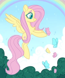 Size: 1731x2048 | Tagged: safe, artist:n in a, fluttershy, butterfly, pegasus, pony, chest fluff, cute, flying, rainbow, shyabetes, smiling, solo, wingding eyes