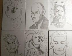 Size: 1080x843 | Tagged: safe, artist:dutchwho_arts, twilight sparkle, human, pony, unicorn, six fanarts, bald, bust, charles xavier, clothes, crossover, female, gambit, iron man, jean grey, male, marvel comics, smiling, tank girl, traditional art, unicorn twilight
