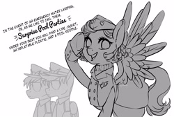 Size: 3496x2362 | Tagged: safe, artist:taytinabelle, pegasus, pony, 4chan, black and white, blazer, clothes, cute, dialogue, drawthread, ear fluff, female, grayscale, hat, high res, looking at you, mare, monochrome, pilot, request, requested art, simple background, sketch, smiling, spread wings, stewardess, sweater, text, turtleneck, uniform, vintage, white background, wings