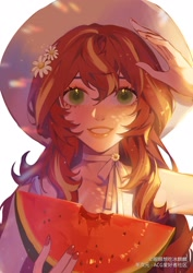 Size: 2480x3508 | Tagged: safe, alternate version, artist:xieyanbbb, sunset shimmer, human, anime, clothes, female, flower, flower in hair, food, fruit, hat, high res, humanized, looking at you, smiling, smiling at you, solo, watermelon