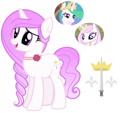 Size: 2050x1900 | Tagged: safe, fleur-de-lis, princess celestia, oc, unicorn, base used, braid, carnation, crown, ear piercing, earring, eyeshadow, female, fleurestia, flower, fusion, jewelry, lesbian, makeup, neck accessory, offspring, parent:fleur-de-lis, parent:princess celestia, parents:fleurestia, pearl, piercing, regalia, shipping, simple background, sword, transparent background, weapon