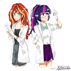 Size: 3000x3000 | Tagged: safe, artist:酱酱不会画画, sci-twi, sunset shimmer, twilight sparkle, equestria girls, clothes, duo, female, gloves, hand in pocket, human coloration, lab coat, latex, latex gloves, ponytail, protective glasses, simple background, skirt, test tube, white background