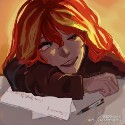 Size: 3000x3000 | Tagged: safe, artist:酱酱不会画画, sunset shimmer, human, equestria girls, clothes, desk, female, jacket, leather jacket, mechanical pencil, one eye closed, paper, solo, wink