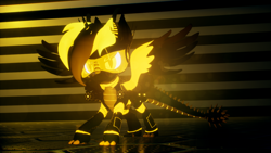 Size: 3840x2160 | Tagged: safe, artist:phoenixtm, oc, oc:phoenix stardash, dracony, dragon, hybrid, pony, robot, robot pony, 3d, battle stance, looking at camera, reflection, remastered, shiny, unreal engine