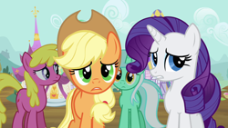 Size: 1280x720 | Tagged: safe, screencap, applejack, cherry berry, lyra heartstrings, rarity, earth pony, pony, unicorn, it's about time, applejack's hat, confused, cowboy hat, female, hat, looking at you, mare, unamused, worried