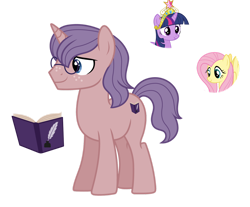 Size: 1280x1060 | Tagged: safe, artist:tenderrain46, fluttershy, twilight sparkle, pony, unicorn, big crown thingy, element of magic, glasses, jewelry, magical lesbian spawn, male, offspring, parent:fluttershy, parent:twilight sparkle, parents:twishy, regalia, simple background, stallion, transparent background