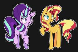 Size: 2800x1875 | Tagged: safe, artist:kurib0n, starlight glimmer, sunset shimmer, pony, unicorn, black background, cute, duo, female, raised leg, simple background, smiling