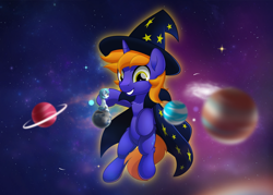 Size: 800x573 | Tagged: safe, artist:jhayarr23, oc, oc only, oc:snap feather, oc:star bright, pony, cosmic wizard, giant pony, giant unicorn, giga giant, hat, macro, magic, male, orbit, planet, pony bigger than a planet, sitting, sitting on top of the world, size difference, space, stallion, stars, tangible heavenly object, wizard, wizard hat, wizard robe