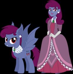 Size: 2463x2475 | Tagged: safe, artist:shadymeadow, oc, oc:oscura fortunata, bat pony, pony, equestria girls, clothes, dress, female, human ponidox, mare, self ponidox, simple background, transparent background