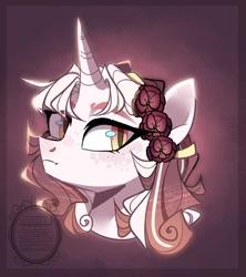 Size: 1024x1153   Tagged: safe, artist:manella-art, oc, oc:sunset flower, pony, unicorn, bust, female, mare, parent:rarity, parent:sunburst, parents:rariburst, portrait, solo