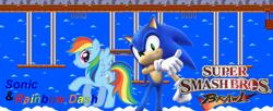 Size: 1024x417   Tagged: safe, artist:nintendostarknight, rainbow dash, hedgehog, pegasus, pony, crossover, nintendo, sega, sonic the hedgehog, sonic the hedgehog (series), sonicdash, super smash bros., super smash bros. brawl, wallpaper