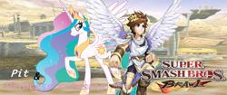 Size: 1024x432   Tagged: safe, artist:nintendostarknight, princess celestia, alicorn, human, pony, angel, angelic wings, crossover, crown, jewelry, kid icarus, kid icarus: uprising, necklace, nintendo, pit (kid icarus), regalia, super smash bros., super smash bros. brawl, wallpaper, wings