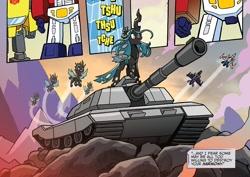 Size: 980x692 | Tagged: safe, artist:tonyfleecs, queen chrysalis, changeling, changeling queen, idw, spoiler:comic, spoiler:friendship in disguise, spoiler:friendship in disguise01, bumblebee (transformers), comic, context is for the weak, crossover, decepticon, drive me closer, female, megatron, meme, optimus prime, skywarp, starscream, tank (vehicle), transformers, warhammer (game), warhammer 40k