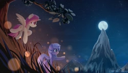 Size: 1920x1098 | Tagged: safe, artist:emeraldgalaxy, princess celestia, princess luna, alicorn, pony, cewestia, duo, female, filly, moon, mountain, night, pink-mane celestia, s1 luna, scenery, tree, woona, younger