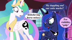 Size: 1280x720 | Tagged: safe, edit, edited screencap, screencap, princess celestia, princess luna, alicorn, pony, a royal problem, angry, canterlot castle, crown, descriptive noise, dialogue, female, horse noises, implied starlight glimmer, jewelry, mare, peytral, regalia, speech bubble, swapped cutie marks