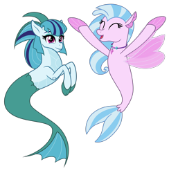 Size: 4303x4405 | Tagged: safe, artist:orin331, artist:pilot231, edit, vector edit, silverstream, sonata dusk, seapony (g4), siren, absurd resolution, cheering, cloven hooves, colored hooves, cute, diastreamies, female, happy, non-shipping, seapony silverstream, simple background, smiling, transparent background, vector