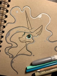 Size: 1536x2048 | Tagged: safe, artist:greyscaleart, princess luna, alicorn, pony, bust, constellation freckles, female, freckles, mare, partial color, solo, traditional art