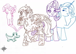 Size: 1620x1156 | Tagged: safe, artist:assertiveshypony, gummy, pinkie pie, starlight glimmer, trixie, oc, oc:dusty sandwind, alligator, earth pony, pegasus, pony, unicorn, bag, cutie mark, drawing, simple background, traditional art, white background