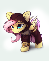 Size: 2039x2552 | Tagged: safe, artist:hitbass, fluttershy, pegasus, pony, badass, badass adorable, blushing, clothes, costume, cute, fantasy class, flutterbadass, gray background, ranger, shyabetes, simple background