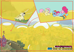 Size: 4500x3200 | Tagged: safe, artist:rupertbluefox, applejack, fluttershy, pinkie pie, rainbow dash, oc, earth pony, pegasus, pony, series:pinkie and the yellow squish drive, backwards cutie mark, balloon, balloon fetish, balloon sitting, boing, female, fetish, flying, huge balloon, incentive drive, lineless, lying down, male, mare, outdoors, ponyville, prone, squishy, stallion, that pony sure does love balloons, tummy buzz