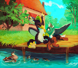 Size: 1024x892 | Tagged: safe, artist:dearmary, oc, oc only, oc:duk, oc:ping wing, bird, duck, griffon, pegasus, pony, house, pier, solo, tree, water