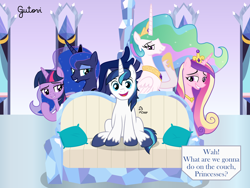 Size: 4268x3201 | Tagged: safe, artist:gutovi, princess cadance, princess celestia, princess luna, shining armor, twilight sparkle, bedroom eyes, brother and sister, castle, couch, crossing the memes, crystal castle, crystal empire, female, grin, imminent orgy, imminent sex, incest, infidelity, innocent, male, meme, oblivious, pillow, piper perri surrounded, pomf, ponified meme, shining armor gets all the mares, shining armor is a goddamn moron, shiningcadance, shininglestia, shiningluna, shiningsparkle, shipping, siblings, smiling, straight, twicest, what are we gonna do on the bed?