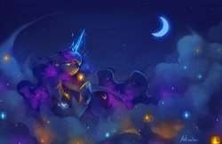Size: 4096x2650   Tagged: safe, artist:anticular, princess luna, alicorn, pony, cloud, crescent moon, female, high res, jewelry, mare, moon, night, on a cloud, solo