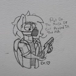 Size: 1554x1554 | Tagged: safe, artist:drheartdoodles, oc, oc:dr.heart, anthro, clydesdale, pegasus, artist signature, clothes, coat, dialogue, doctor, gun, male, mask, stallion, traditional art, weapon