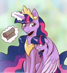 Size: 1564x1722 | Tagged: safe, artist:saturdaymorningproj, twilight sparkle, alicorn, pony, the last problem, hug, messy mane, princess twilight 2.0, scroll, self ponidox, twilight sparkle (alicorn), winghug