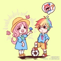 Size: 1668x1668 | Tagged: safe, artist:茴香豆蝶子, fluttershy, rainbow dash, bird, human, child, clothes, dress, duo, female, football, hat, humanized, shorts, sports, thought bubble, tomboy, younger