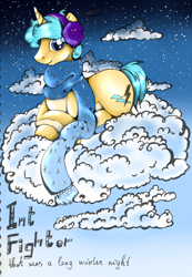 Size: 1632x2352 | Tagged: safe, artist:intfighter, oc, oc only, pony, unicorn, clothes, cloud, earmuffs, night, on a cloud, prone, scarf, solo, stars, text