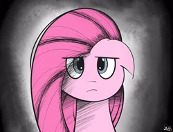 Size: 3348x2553 | Tagged: safe, artist:drawalaverr, pinkie pie, earth pony, pony, angry, annoying, bust, dark background, female, looking at you, mare, pinkamena diane pie, portrait, solo