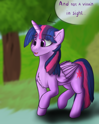 Size: 1128x1420 | Tagged: safe, artist:pew-screw, twilight sparkle, alicorn, pony, blurred background, chest fluff, cutie mark, female, mare, solo, speech bubble, tempting fate, twilight day, twilight sparkle (alicorn), walking, wings