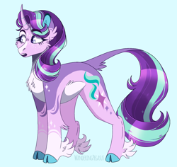 Size: 1024x968 | Tagged: safe, artist:wanderingpegasus, starlight glimmer, classical unicorn, pony, unicorn, blue background, chest fluff, cloven hooves, ear fluff, female, freckles, leg fluff, leonine tail, mare, markings, open mouth, redesign, simple background, solo, unshorn fetlocks