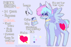 Size: 3003x1996   Tagged: safe, artist:shinningblossom12, oc, oc only, oc:shinning blossom, pegasus, pony, blushing, choker, ear piercing, earring, female, heart, jewelry, mare, necklace, pegasus oc, piercing, reference sheet, solo, wings