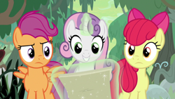 Size: 1920x1080 | Tagged: safe, screencap, apple bloom, scootaloo, sweetie belle, growing up is hard to do, cutie mark crusaders, older