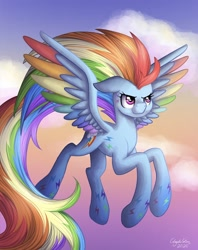 Size: 1356x1714 | Tagged: safe, artist:bluesunrise905, rainbow dash, pegasus, pony, twilight's kingdom, cloud, colored wings, female, floppy ears, flying, mare, multicolored wings, rainbow power, rainbow wings, sky, solo, spread wings, wings