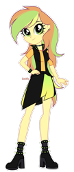 Size: 1611x3724 | Tagged: safe, artist:lazuli, oc, oc only, equestria girls, choker, clothes, ear piercing, eyelashes, female, high heels, jacket, piercing, shoes, simple background, skirt, smiling, solo, transparent background
