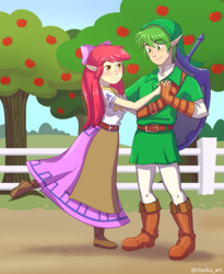 Size: 2500x3056 | Tagged: safe, artist:riouku, apple bloom, spike, human, apple, apple tree, clothes, commission, cosplay, costume, female, humanized, link, male, malon, shield, shipping, spikebloom, straight, sweet apple acres, sword, the legend of zelda, tree, weapon