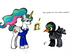 Size: 500x375 | Tagged: safe, princess celestia, pigeon pony, thimbleweed park, voice actor joke