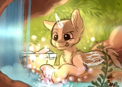 Size: 700x500 | Tagged: safe, artist:zobaloba, pony, any gender, any specie, auction, bubble, clothes, commission, grass, nature, rock, sketch, solo, washing, waterfall, your character here