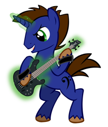 Size: 698x818 | Tagged: safe, artist:agirl3003, oc, oc only, oc:low ryder, unicorn, electric guitar, guitar, horn, magic, musical instrument, simple background, solo, telekinesis, transparent background, unicorn oc