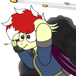 Size: 3000x3000 | Tagged: safe, artist:aaathebap, oc, oc only, oc:aaaaaaaaaaa, bat pony, fallout equestria, bat pony oc, bat wings, bullet, clothes, emoji, fallout, hiding, male, pipbuck, scared, simple background, solo, transparent background, vault suit, wings