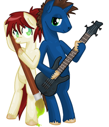 Size: 780x912 | Tagged: safe, artist:littlelace, oc, oc:low ryder, oc:nova, earth pony, unicorn, brush, earth pony oc, electric guitar, guitar, horn, musical instrument, unicorn oc