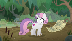 Size: 1920x1080 | Tagged: safe, screencap, sweetie belle, pony, unicorn, growing up is hard to do, female, mare, mud, older, older sweetie belle, shrunken pupils, solo, wide eyes