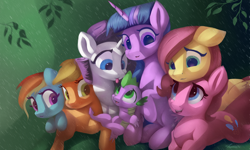 Size: 4500x2700 | Tagged: safe, artist:auroriia, applejack, fluttershy, pinkie pie, rainbow dash, rarity, spike, twilight sparkle, dragon, pony, cute, female, floppy ears, high res, male, mane seven, mane six, mare, missing cutie mark, rain