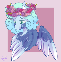 Size: 1352x1364 | Tagged: safe, artist:lechu-zaz, oc, oc only, pegasus, bust, commission, crown, crying, floral head wreath, flower, jewelry, pegasus oc, portrait, regalia, sad, solo, wings