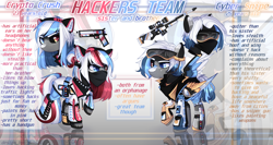 Size: 4056x2160 | Tagged: safe, artist:densaii, oc, oc only, oc:crypto crush, oc:cyber snipe, cyborg, earth pony, pegasus, pony, cyber-questria, amputee, artificial wings, augmented, bandana, belt, boots, brother and sister, choker, clothes, female, freckles, goggles, gun, handgun, headphones, headset, holster, jacket, male, mare, markings, multicolored hair, pistol, prosthetic leg, prosthetic limb, prosthetic wing, prosthetics, raised hoof, raised leg, reference sheet, rifle, shirt, shoes, shorts, siblings, sniper rifle, spiked choker, stallion, t-shirt, weapon, wings