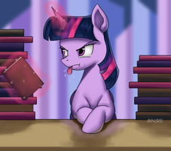 Size: 1748x1546 | Tagged: safe, artist:nire, twilight sparkle, alicorn, pony, book, crossed hooves, female, levitation, magic, magic aura, mare, raspberry, solo, telekinesis, tongue out, twilight sparkle (alicorn)